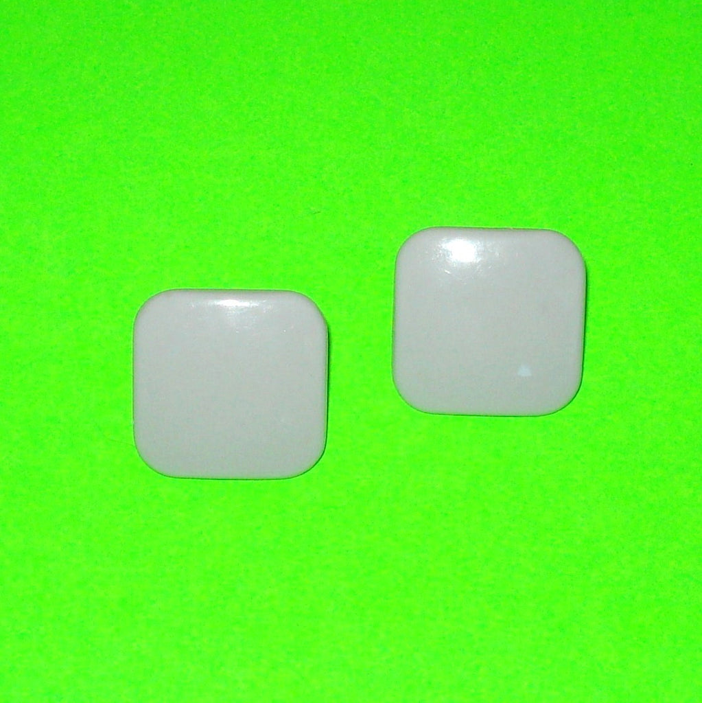 Grey Square Button Earrings
