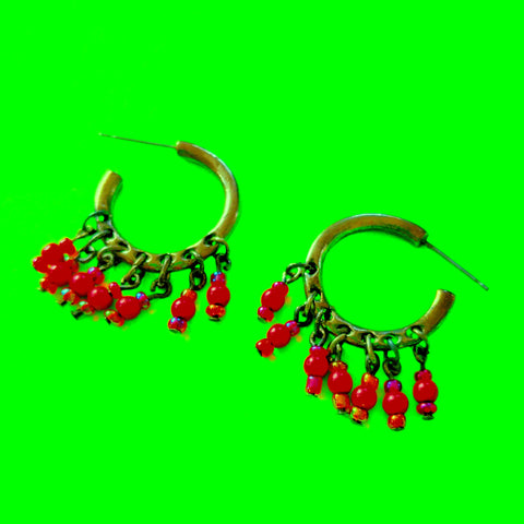 Beaded Red Hoop Earrings