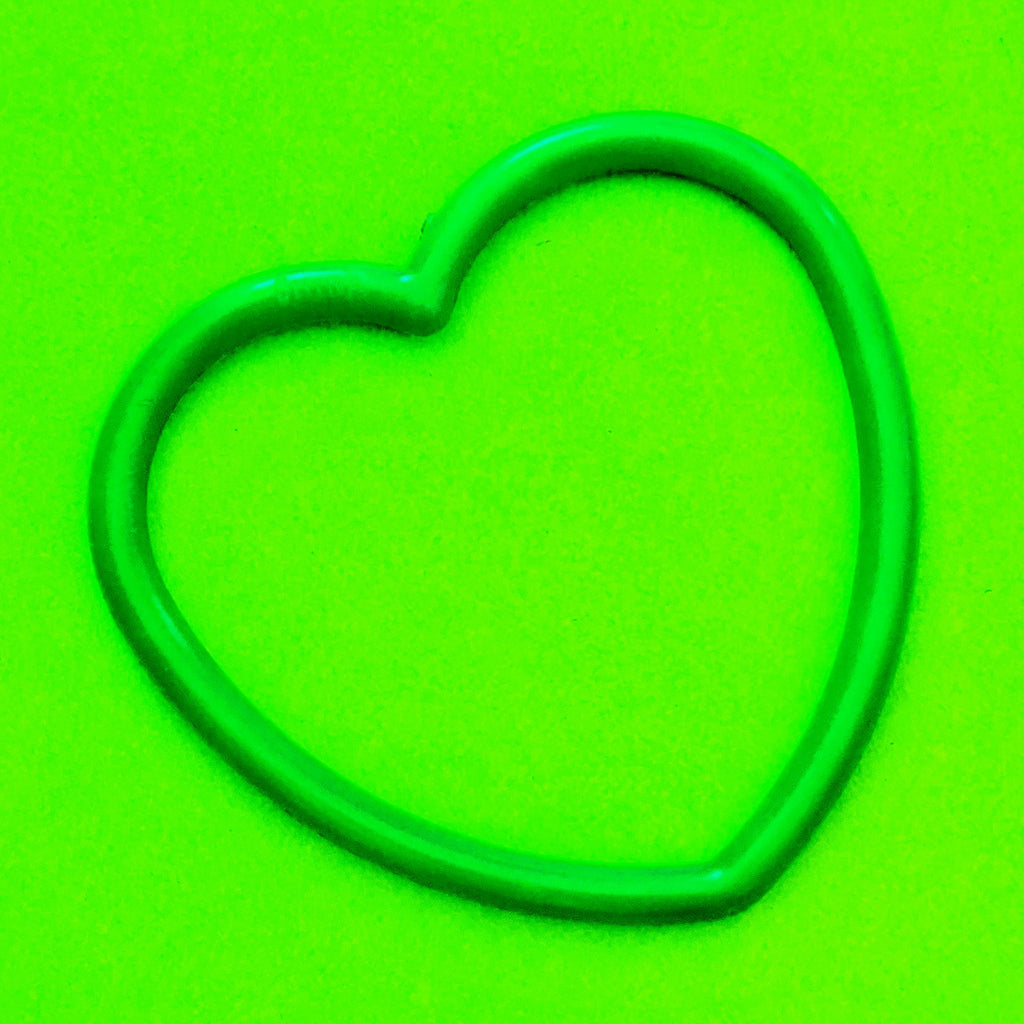 Plastic Heart Bangle - Green