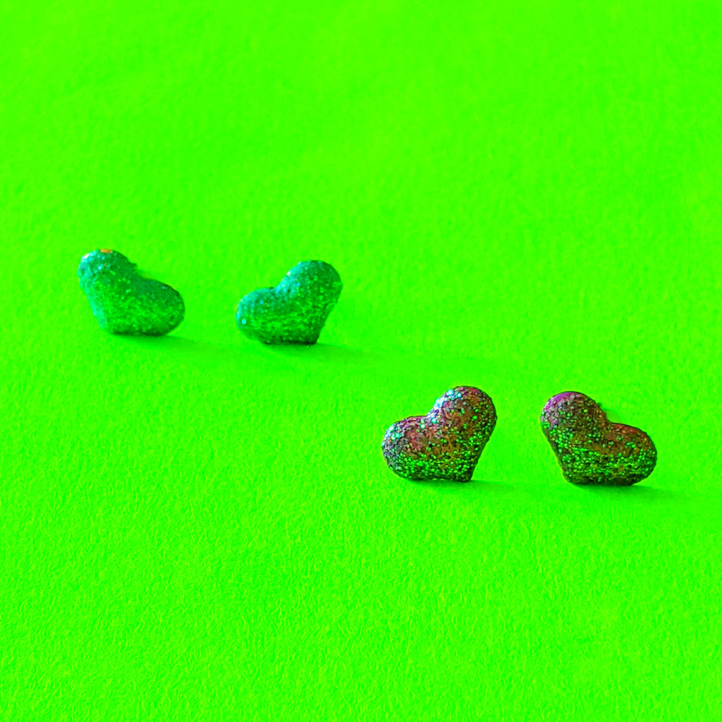 Glitter Heart Stud Earrings