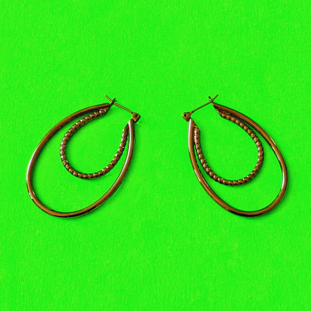 Gunmetal Double Hoop Earrings