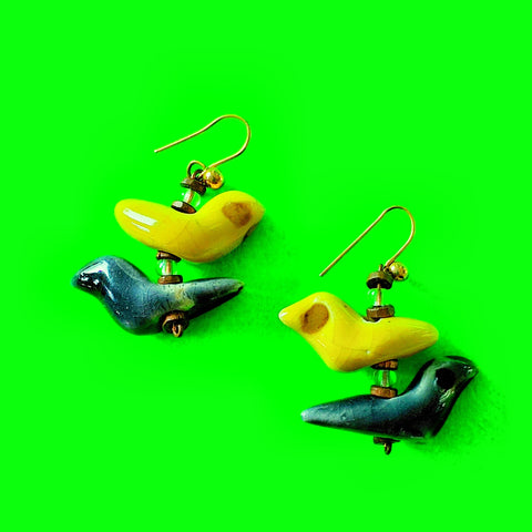 Birds Ceramic Earrings