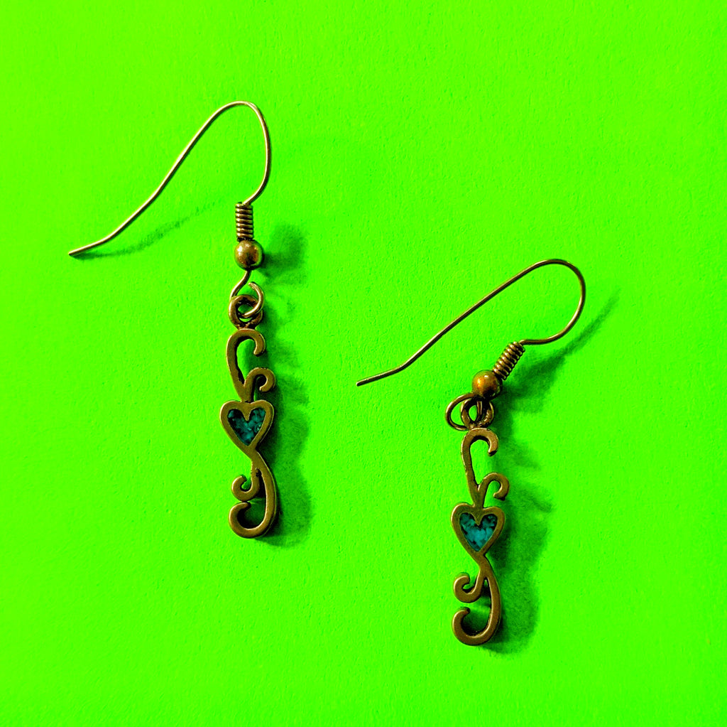 Pewter Heart Scroll Earrings