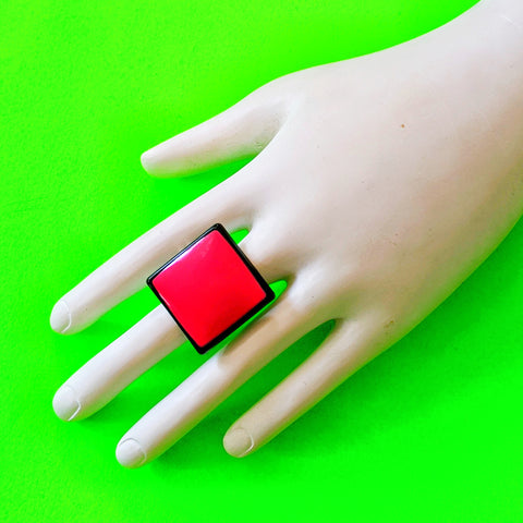Pink Square Cocktail Ring