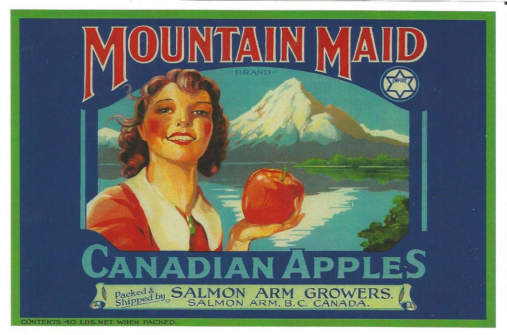 Salmon Arm - Mountain Maid Apples Postcard