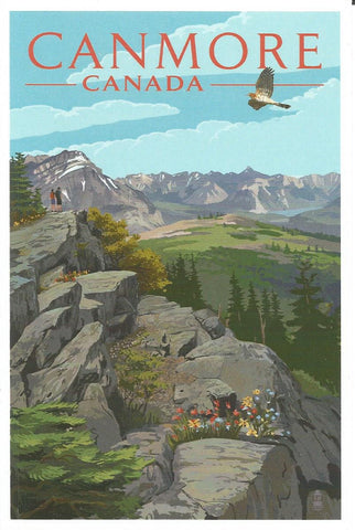 Canmore - Hikers & Hawk Postcard