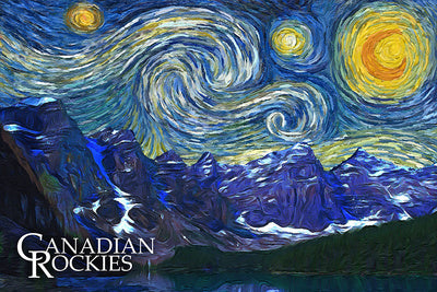 Canadian Rockies - Starry Night Postcard