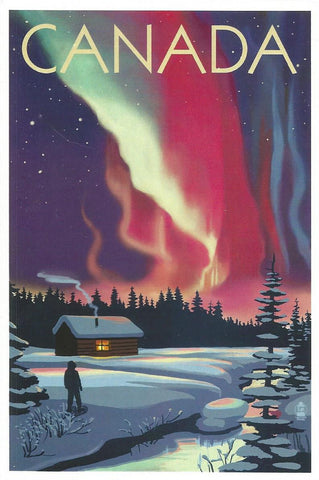 Canada - Northern Lights & Cabin Postcard