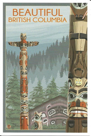 British Columbia - Totem Pole Postcard