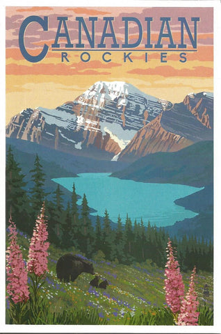 Canadian Rockies - Bear & Spring Flowers Postcard