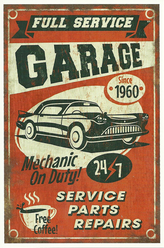 24/7 Full Service Garage Postcard