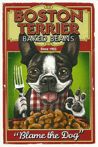 Boston Terrier Baked Beans Postcard