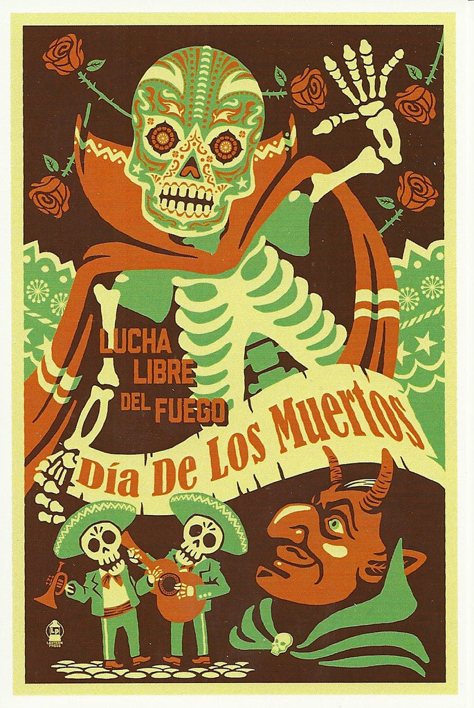 Day of the Dead - Lucha Libre Postcard