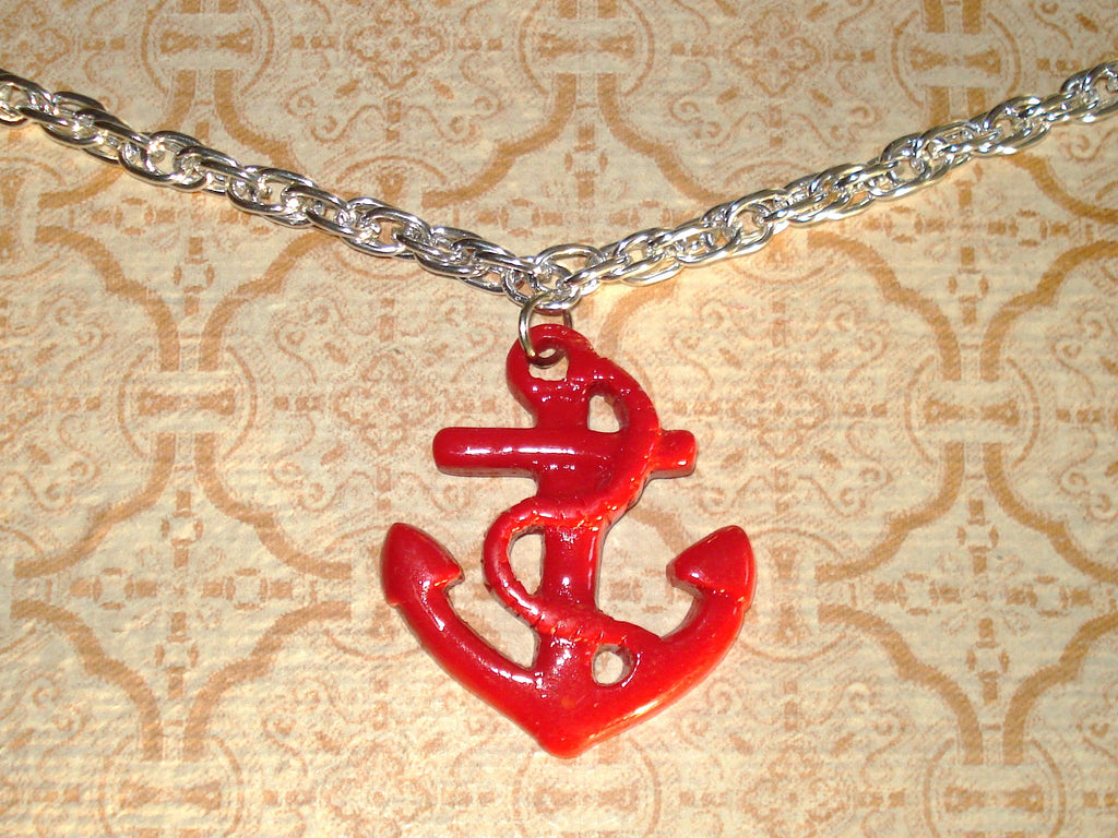 Anchors Away Red Rockabilly Bling Necklace