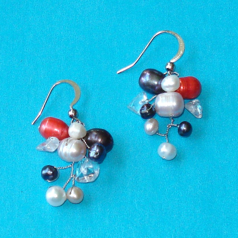 Purple & Red Pearl & Quartz Earrings