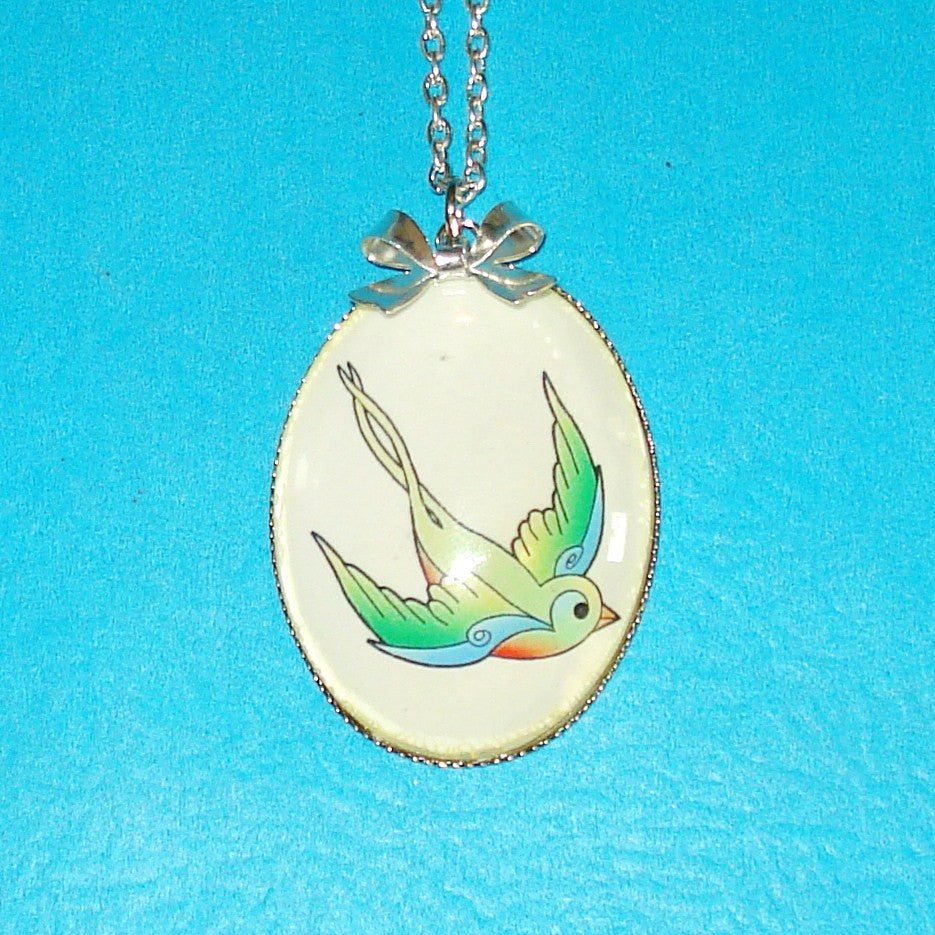 Swallow in Flight Tattoo Necklace
