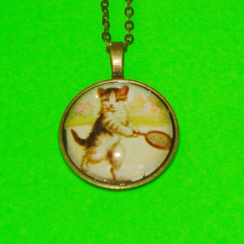 Tennis Pro Kitten Pendant Necklace