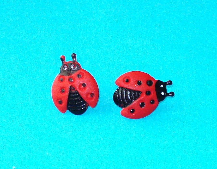 Ladybird Red Post Earrings