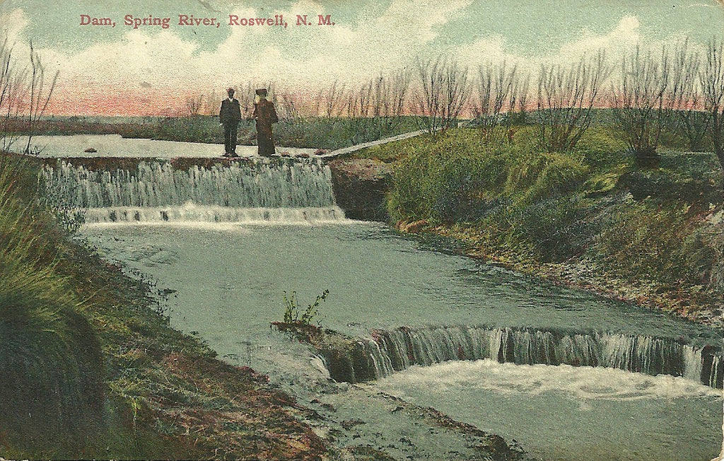 USA - New Mexico - Roswell - Spring River Dam Postcard