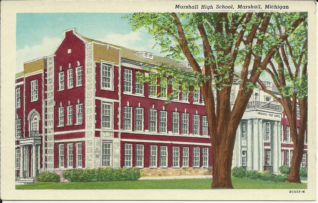 USA - Michigan - Marshall - Marshall High School Postcard