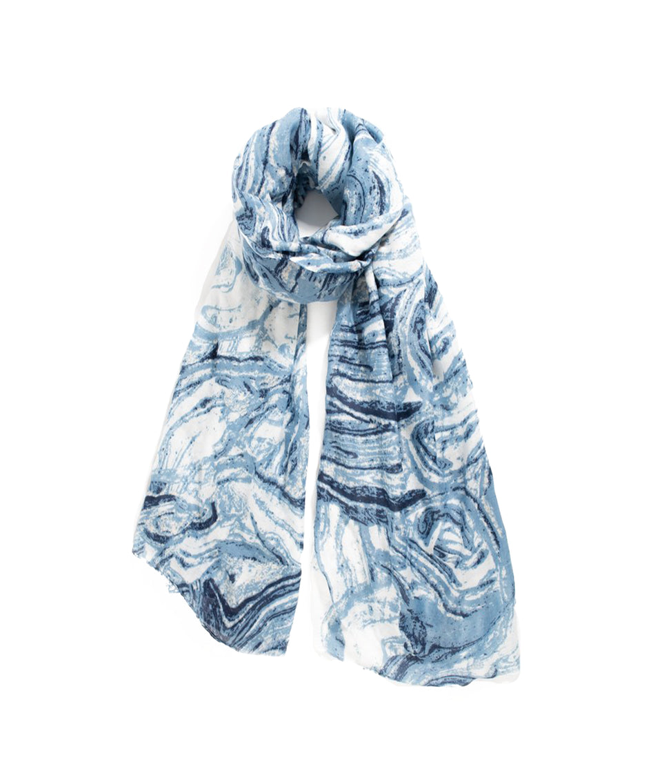 Ladies Scarf - Blue and White Marble Swirl