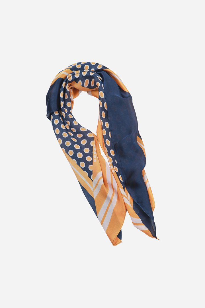 Ladies Scarf - Mustard and Navy Faux Silk Scarf