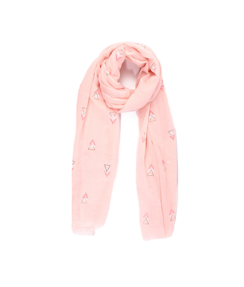 Ladies Scarf - Pink Geometric Print