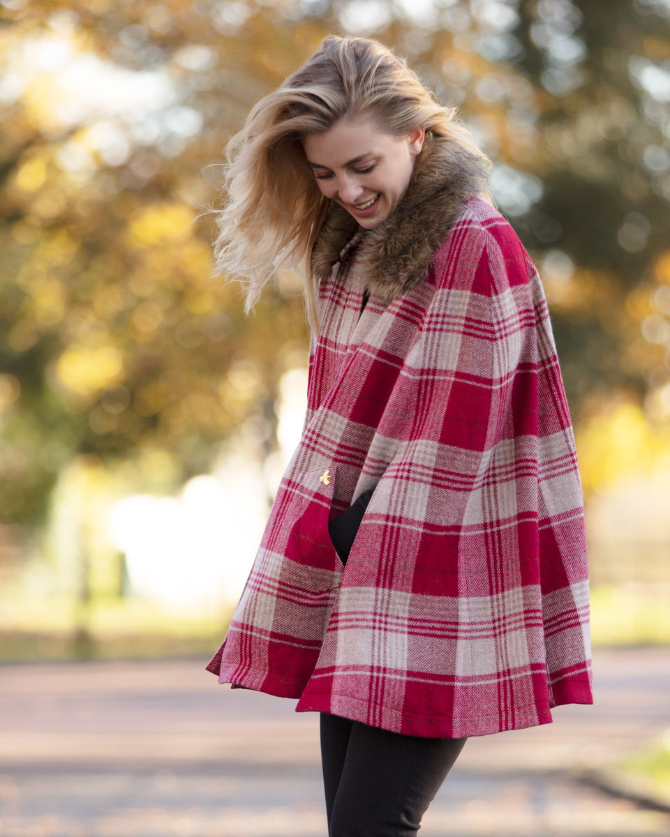 Newbury Tweed Cape with Faux Fur Collar - Red and Beige Tartan Check