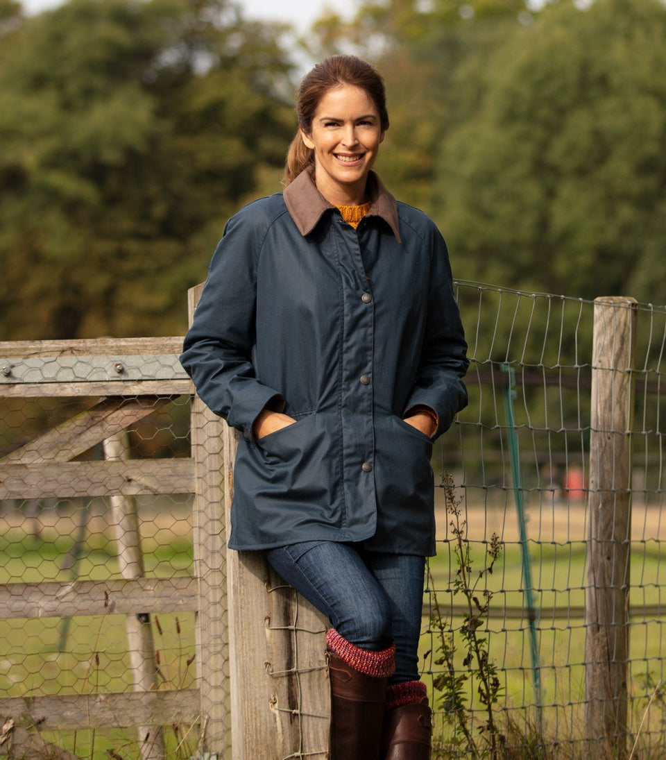 Ladies Bold Landowner Wax Walking Jacket - Blue