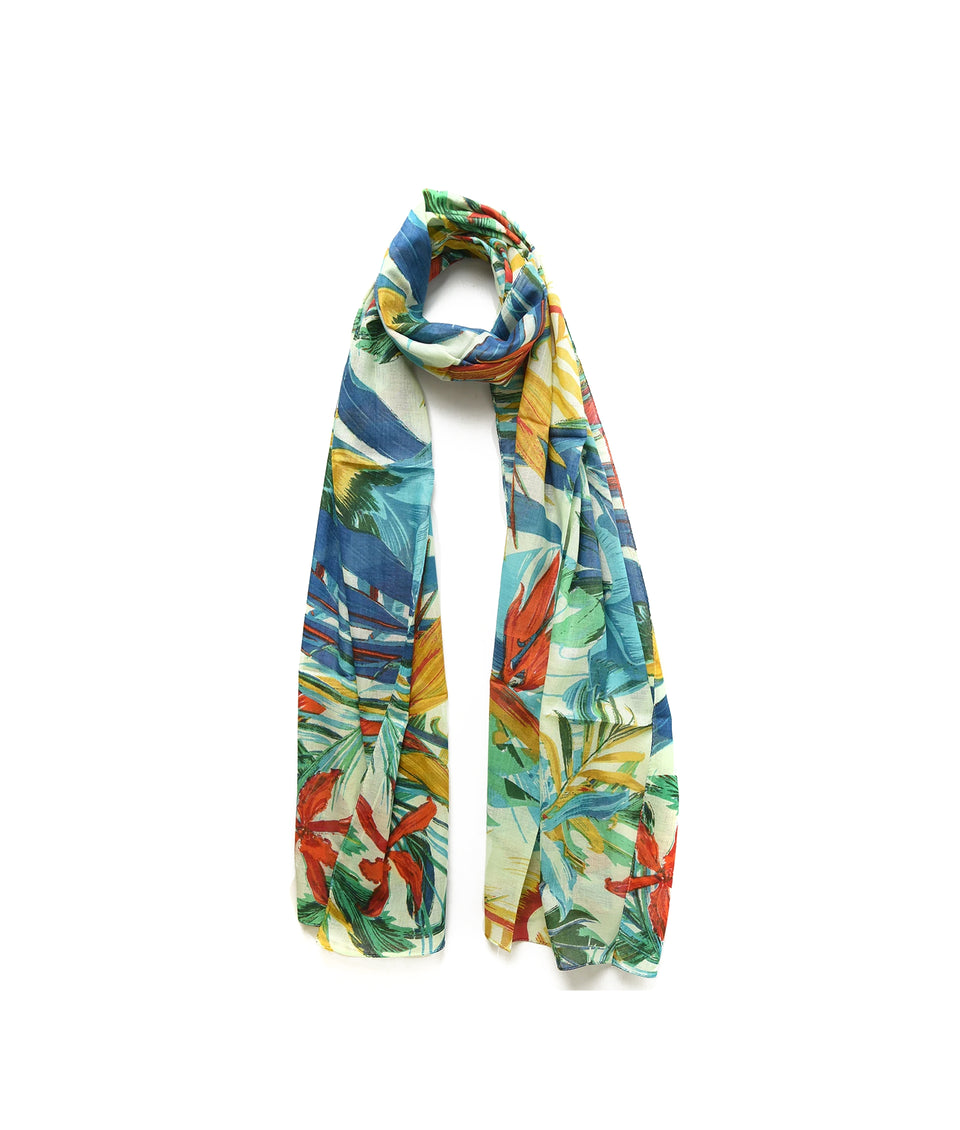 Ladies Scarf -Blue Floral Tropics
