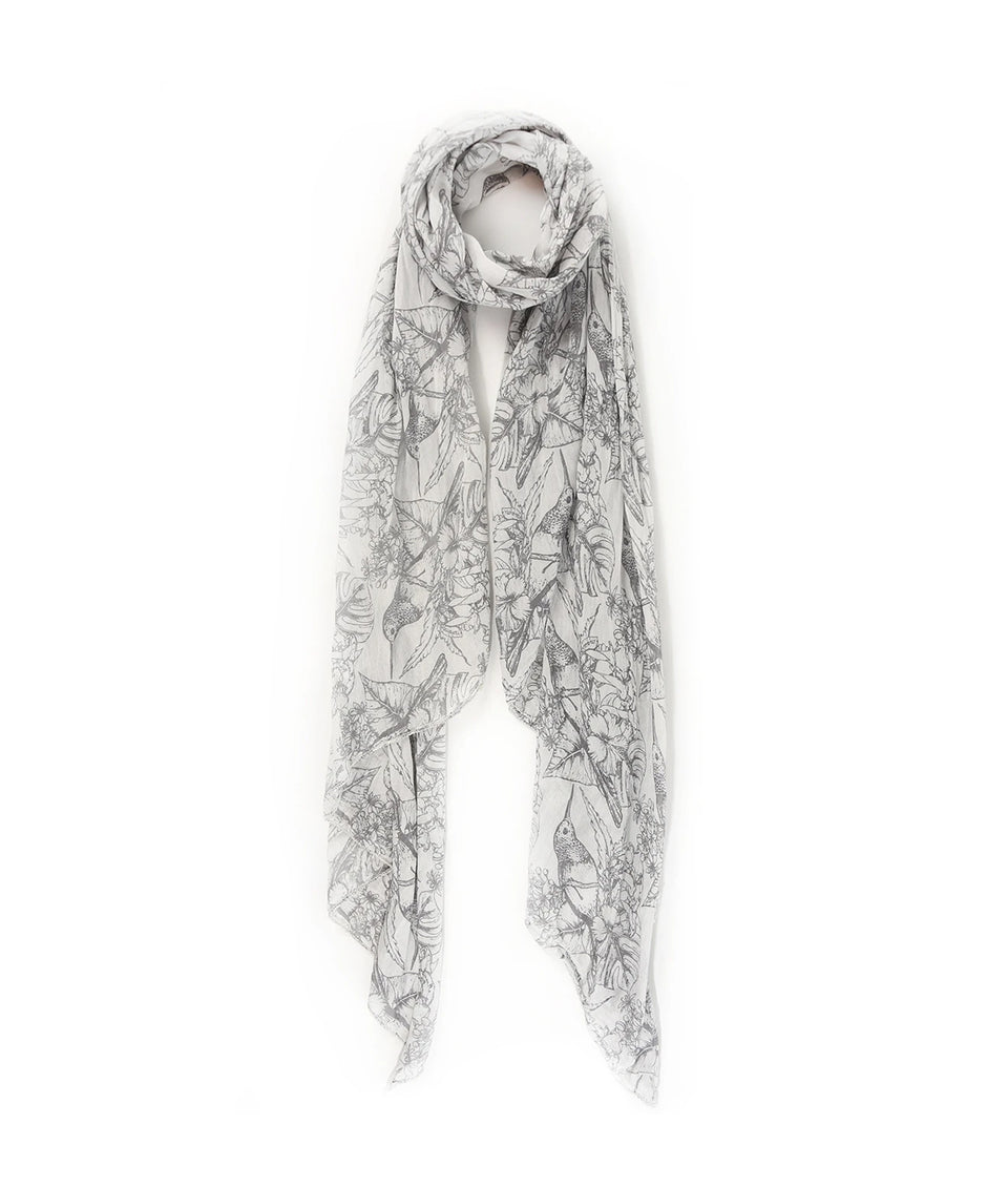 Ladies Scarf - Grey Tropical Paradise