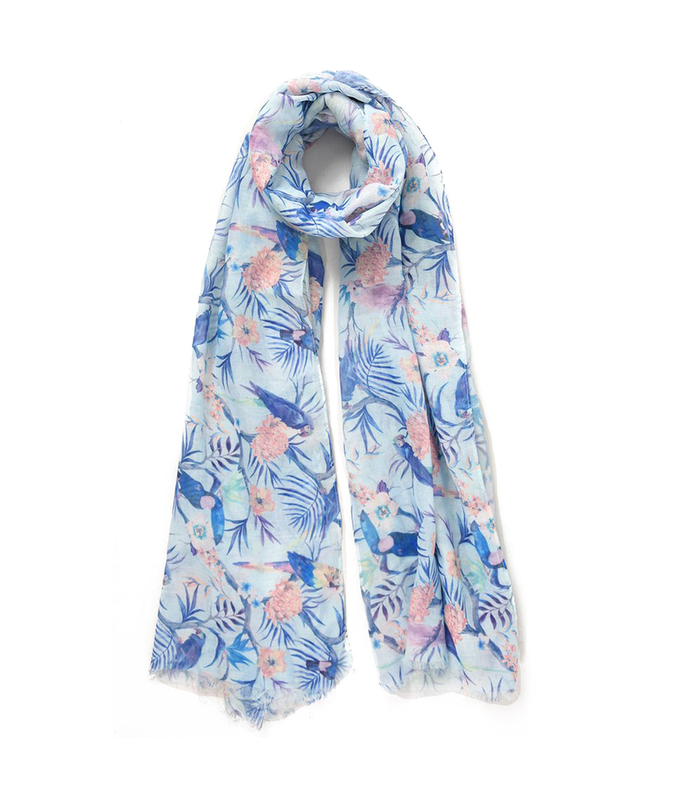 Scarf - Blue Tropical Birds