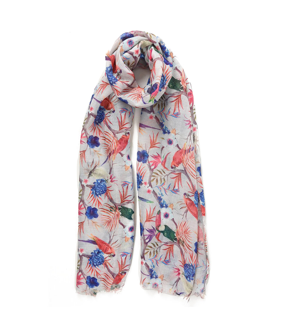 Ladies Scarf - Grey With Tropical Birds