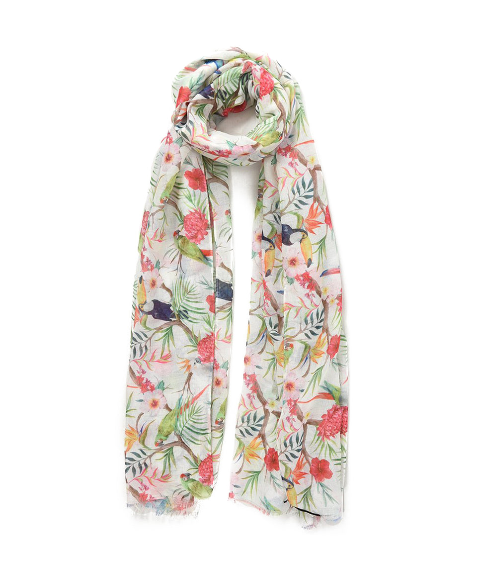 Scarf - White Tropical Birds