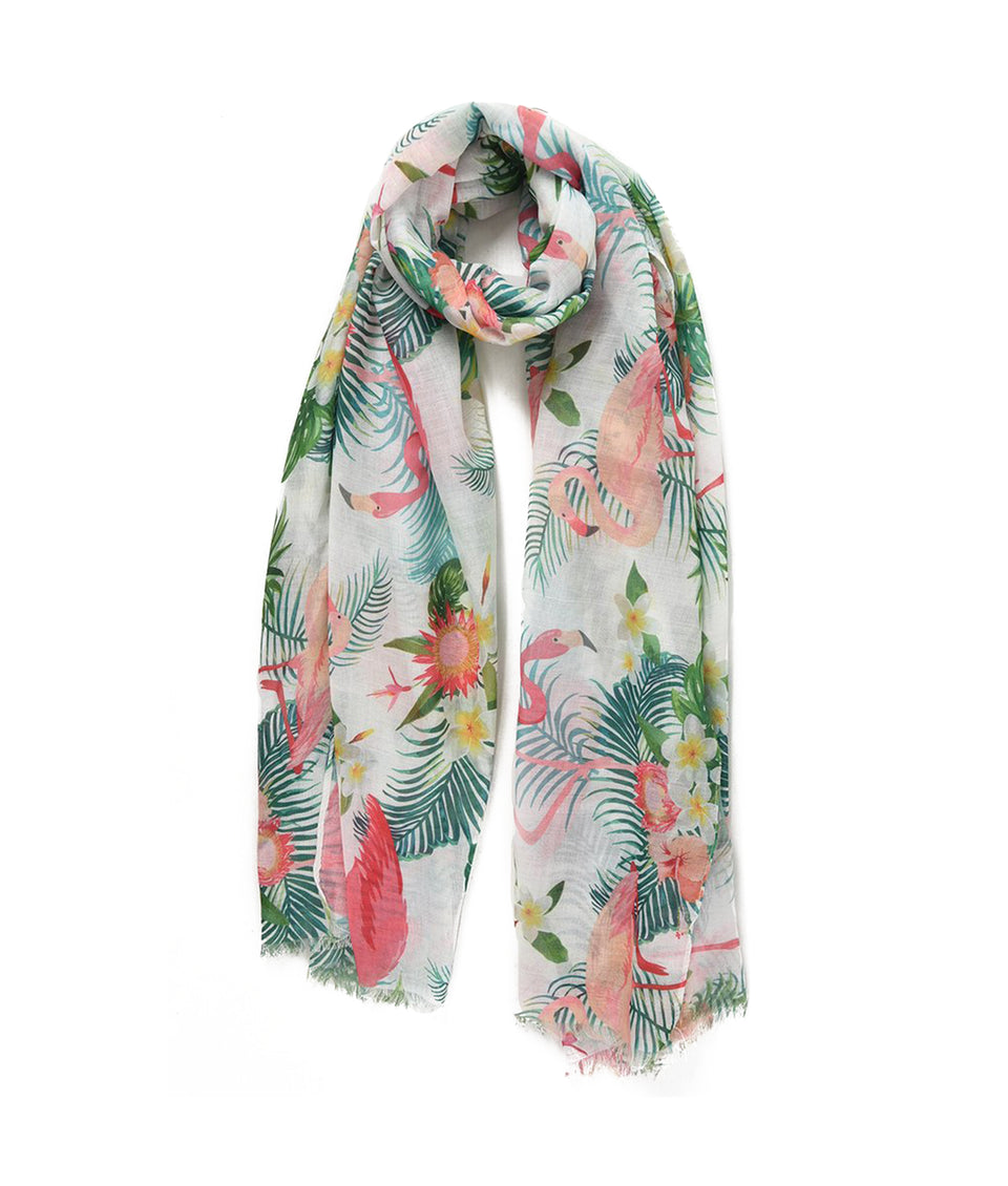 Ladies Scarf - White Tropical Frangipanis