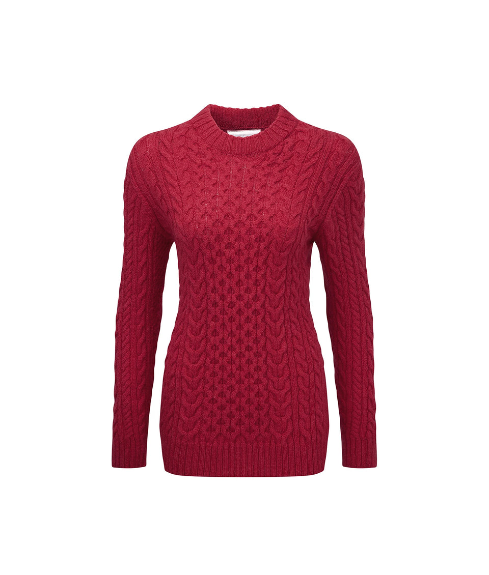 Ladies Aran Crew Neck Sweater in Cherry Red
