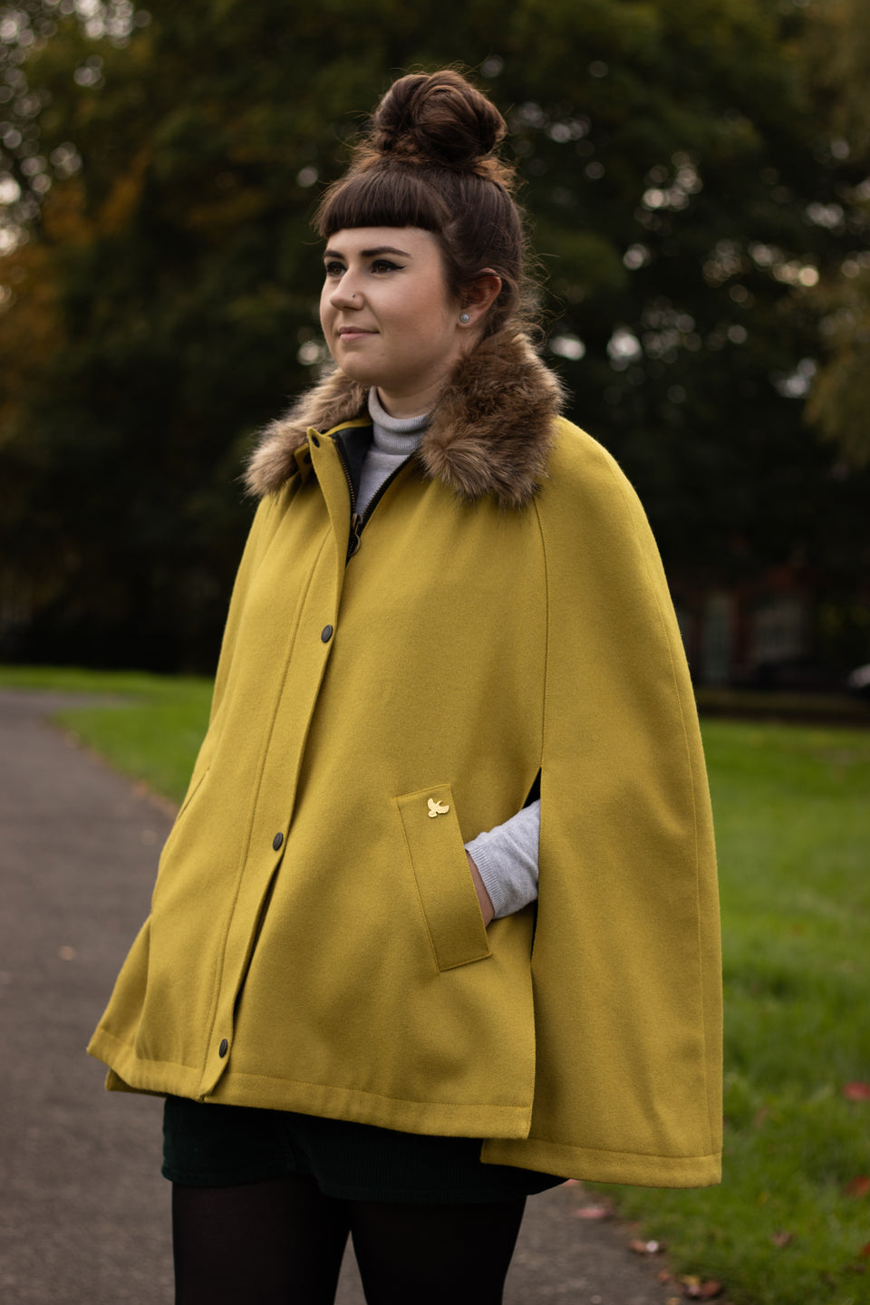 Newbury Tweed Cape with Faux Fur Collar - Ochre Yellow