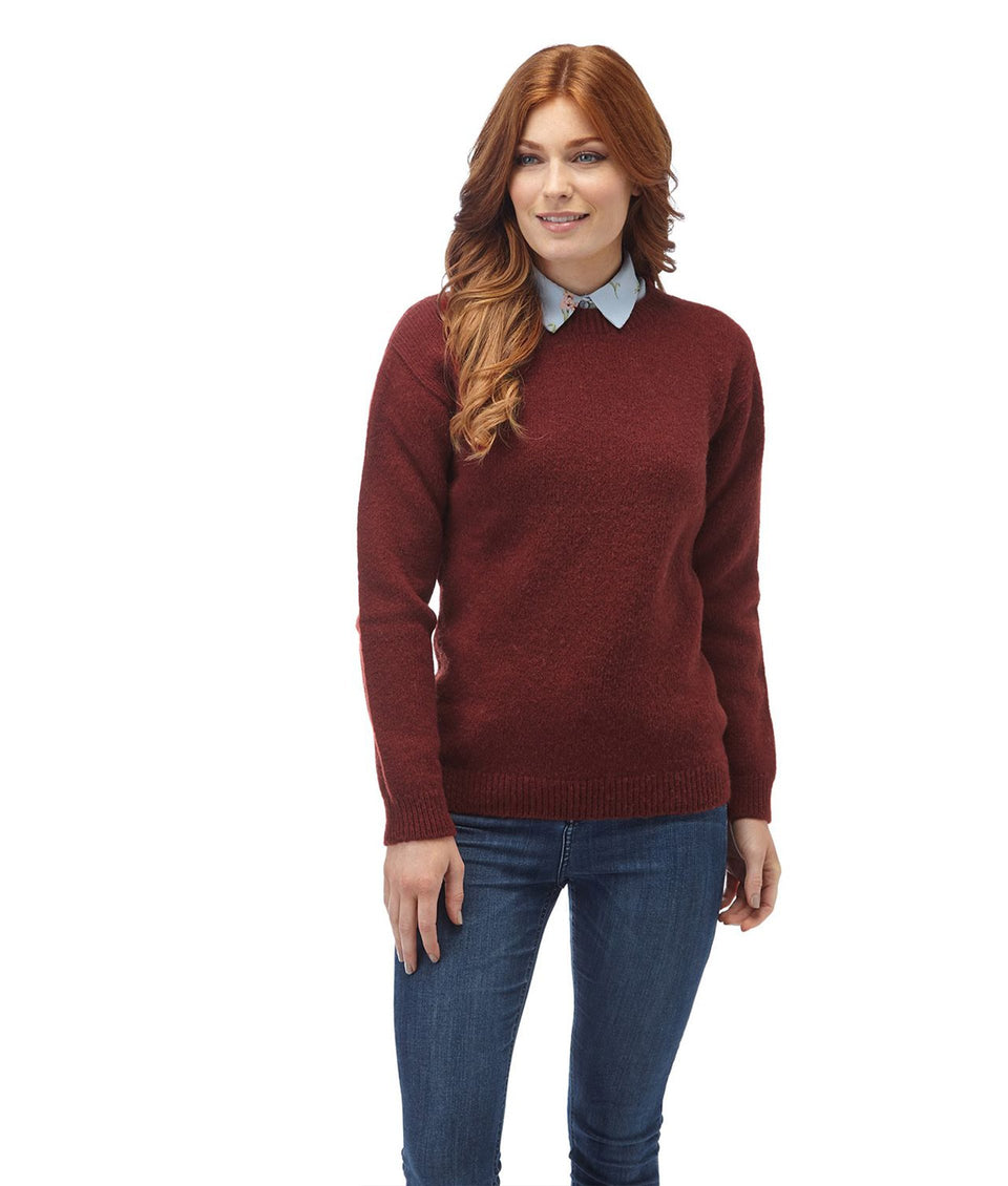 Ladies Crew Neck Shetland Jumper - Russet Red