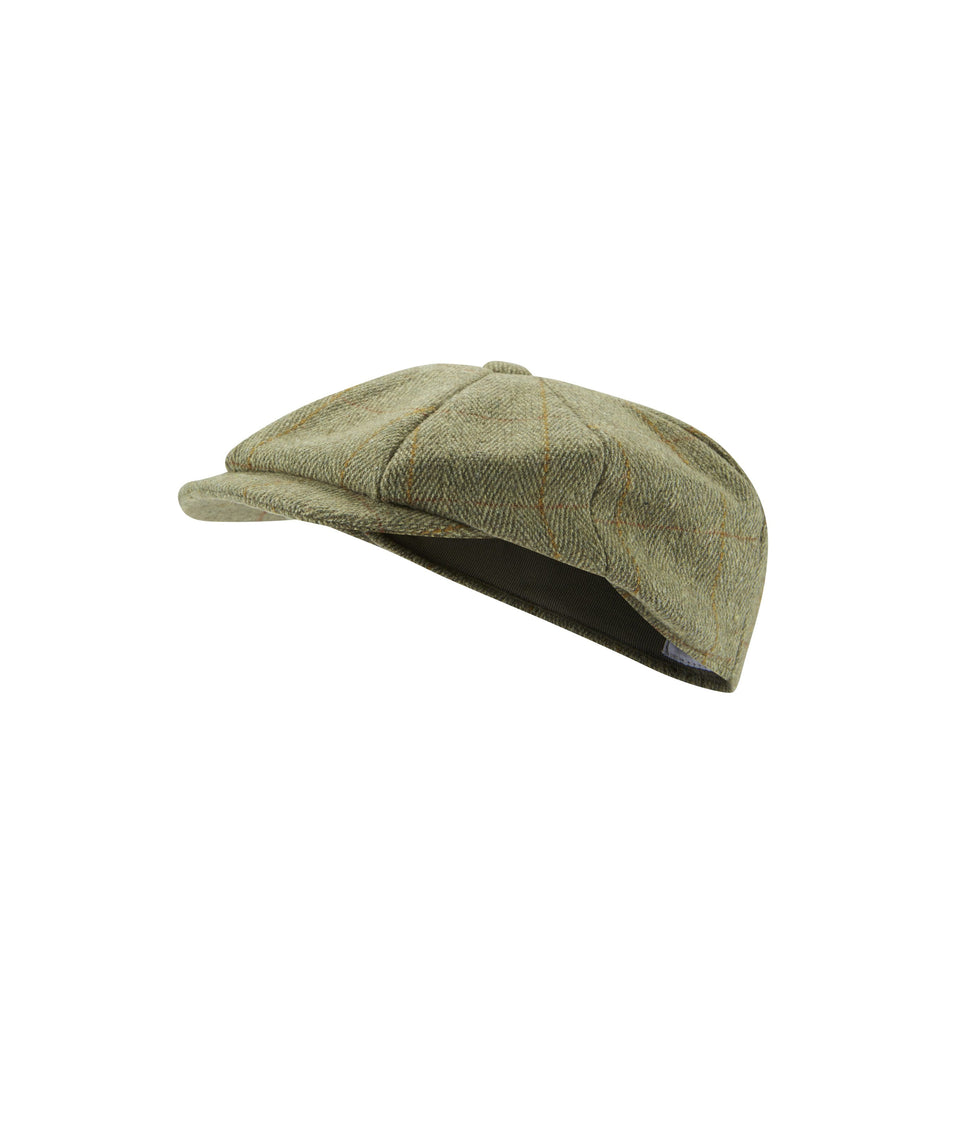 Mens Baker Boy Hat - Green Tweed