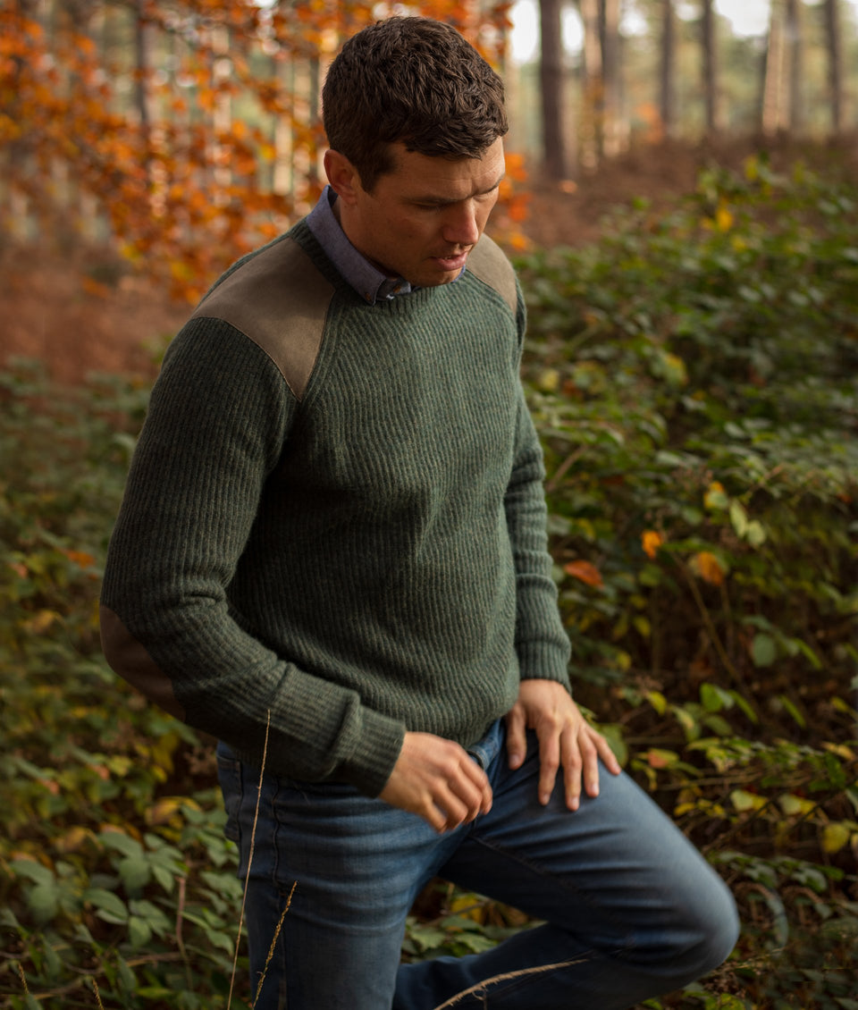 Fisherman Crew Neck Jumper - Basil Green