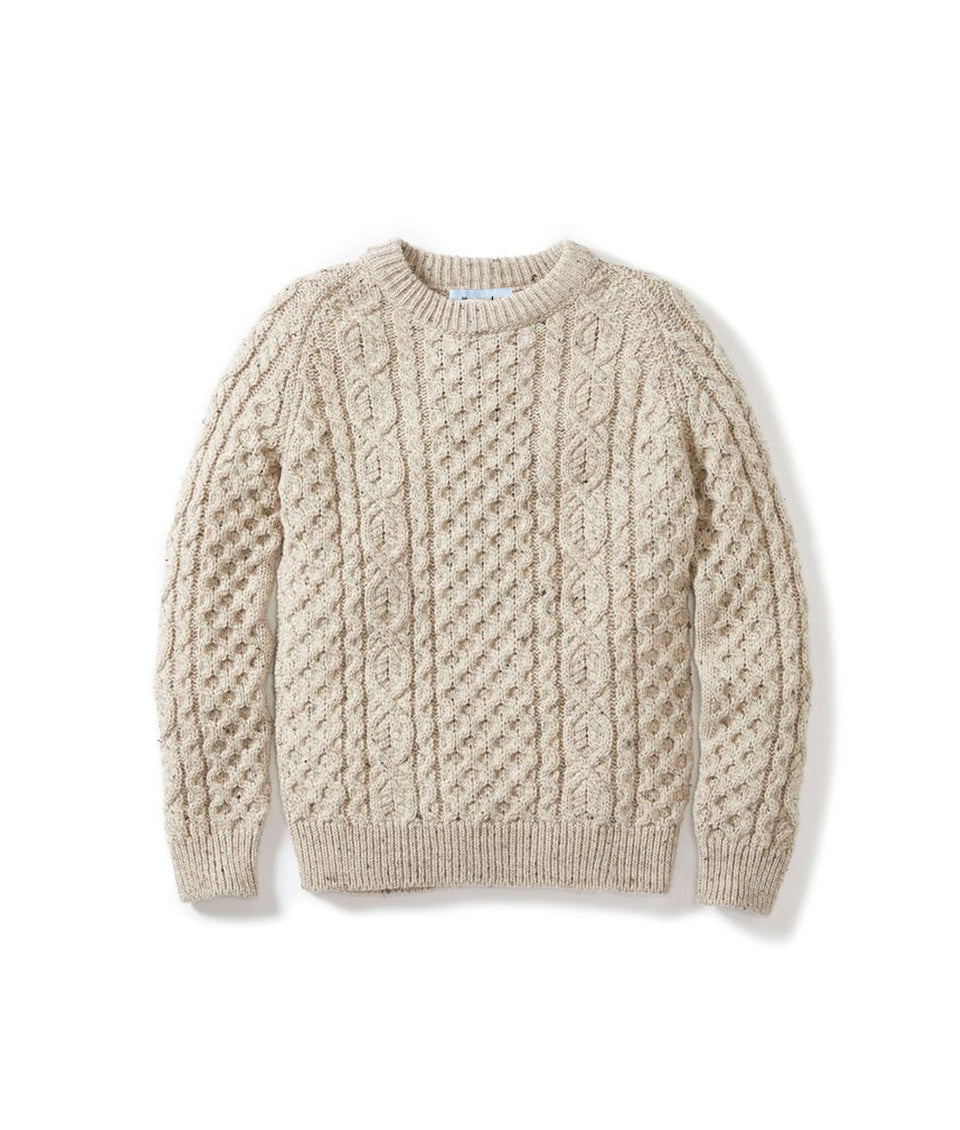 Aran Crew Neck Jumper - Oatmeal