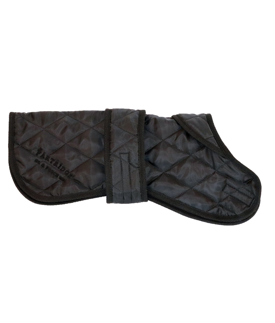 Black quilted dog coat