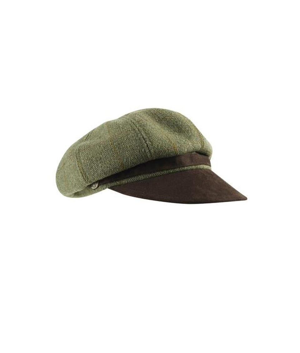 Ladies Button Hat - Green Tweed