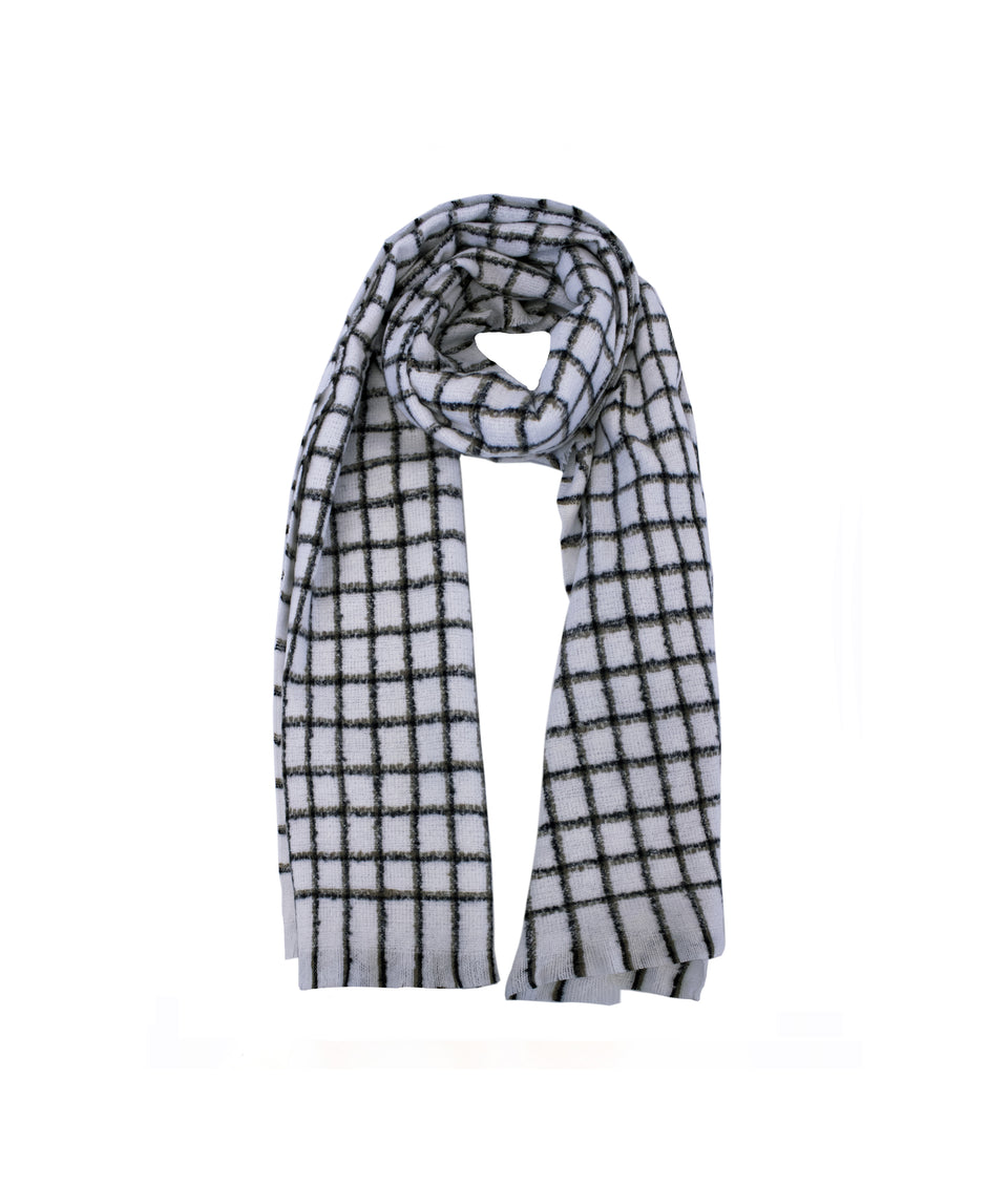 Ladies Scarf - Cream and Black Square Check