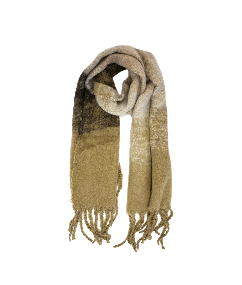 Ladies Scarf - Camel and Black Ombre