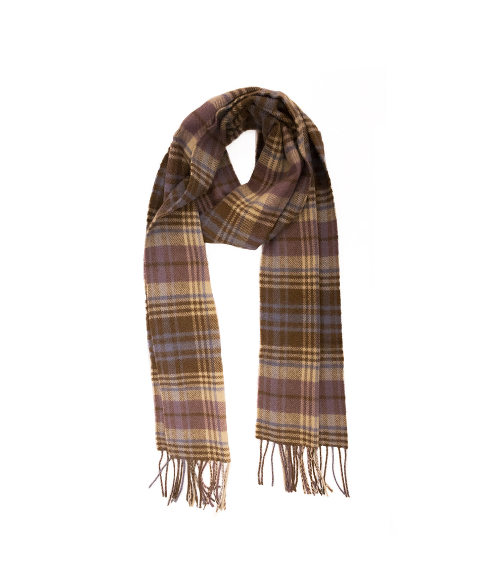 Lambswool Check Scarf - Chocolate