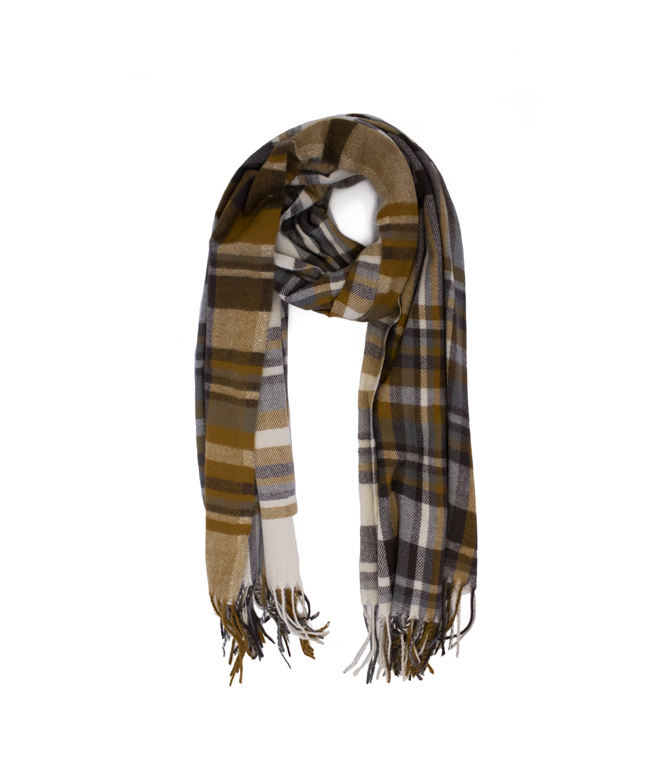 Ladies Scarf - Dark Grey and Mustard Check