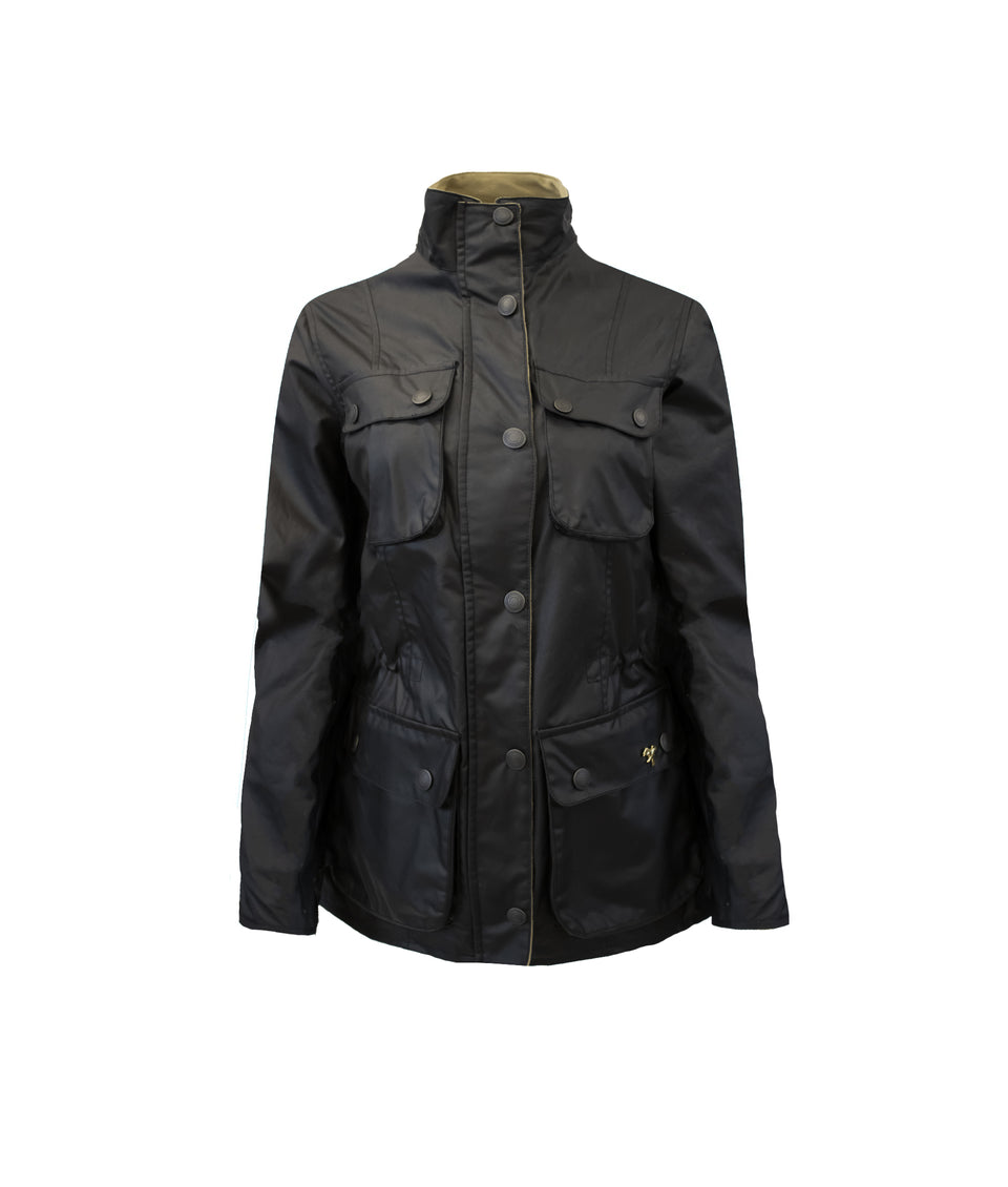 Ladies Colton Wax Biker Jacket - Black