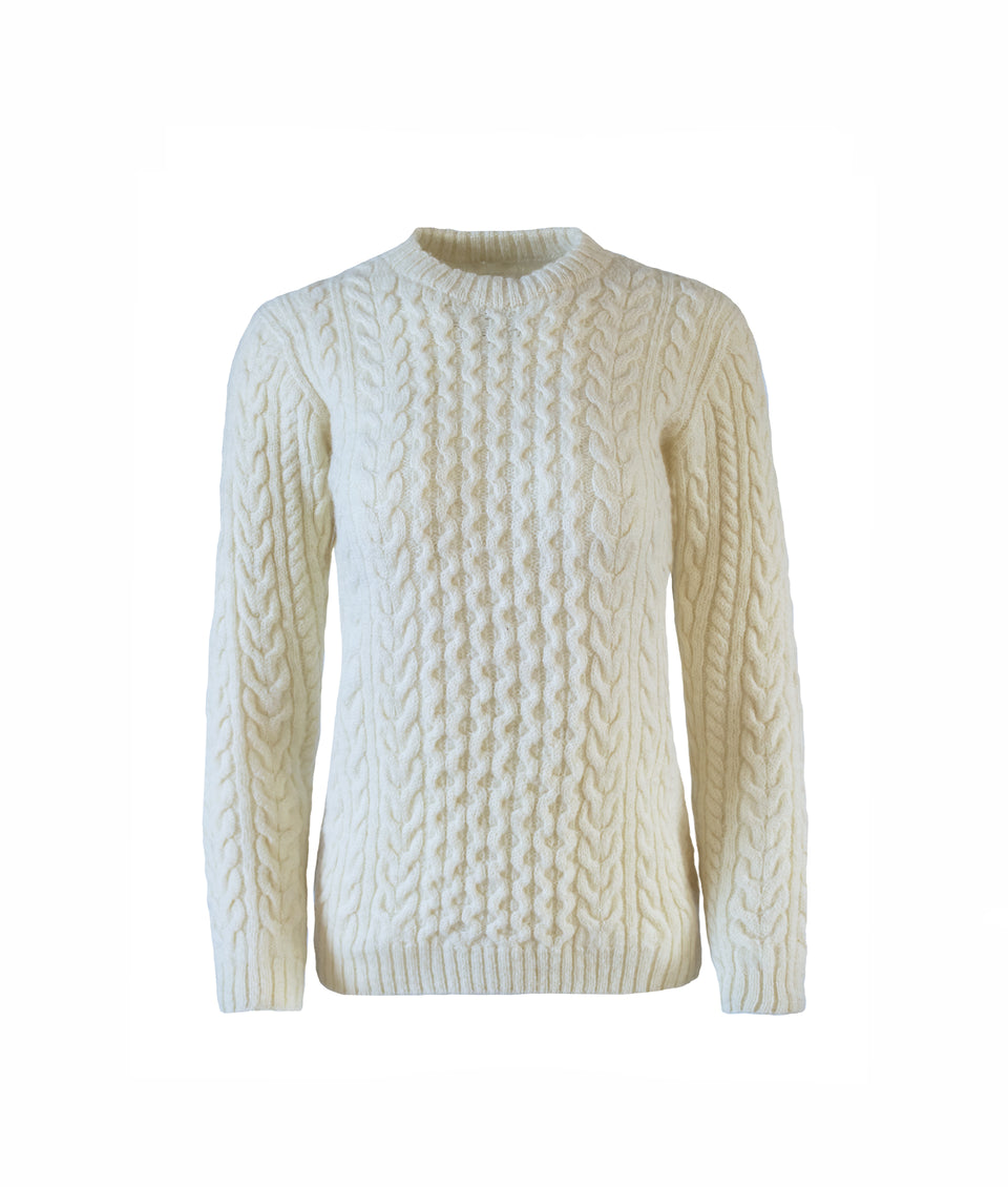 Ladies Aran Crew Neck Jumper - Natural Cream