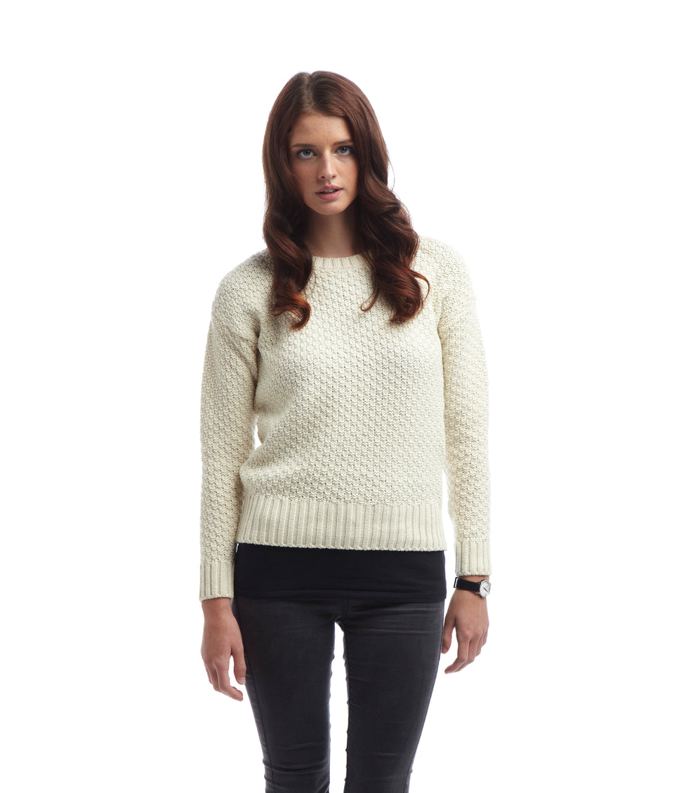Ladies Boatneck Jumper - Cream